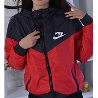 Fashion Nike Print Zipper Long Sleeve Hoodie Coat Cardigan Windbreaker