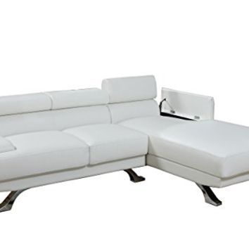 2 pc zorba II modern style white leather like vinyl sectional sofa with adjustable headrests and tufted seats with chrome legs **Clearance**
