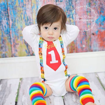 2 PC Boys 1st Birthday Outfit-Baby Boys Birthday Outfit-Tie and Suspenders-Boys 1st Birthday Outfit-Personalized Birthday Outfit