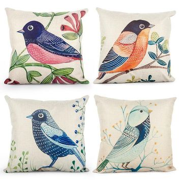 Topfinel Birds Cushion Cover Cheap Animal Accent Pillow Covers for Puff Sofa Seat Chair