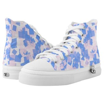 Pink and Blue Confetti High-Top Sneakers
