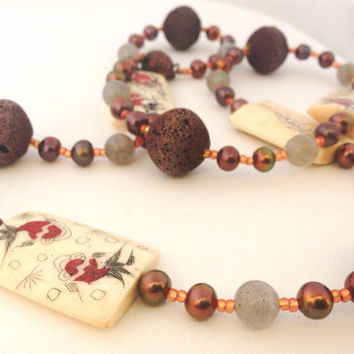 "Koi Fish Bone Tile & Chocolate Brown Lava Beaded necklace with Labradorite, Pearls and Copper Beads - 24"" - Orange, Cream, Brown, Grey"