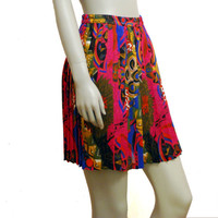 Colorful Short Pleated Vintage Skirt, Pleated Skirt, Short Skirt, Light Skirt, Summer Skirt