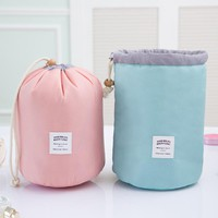 Brand New Barrel-shaped Travel Cosmetic Bag Nylon Large Capacity Drawstring Elegant Drum Toiletry bag Organizer Storage Pouch