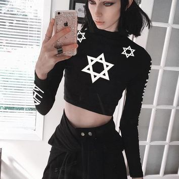 Women Personality Letter Six-pointed Star Print Bodycon Turtleneck Long Sleeve Sweater Crop Tops