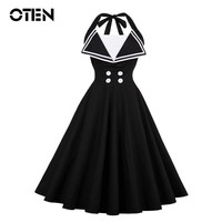 OTEN Summer 2018 Women Fashion Halter sailor collar bandage button Patchwork tunic pin up rockabilly pleated swing dress vestido