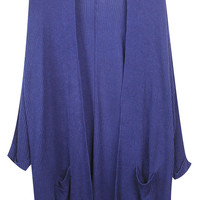 ROMWE | Draped Pockets Dark-blue Cardigan, The Latest Street Fashion