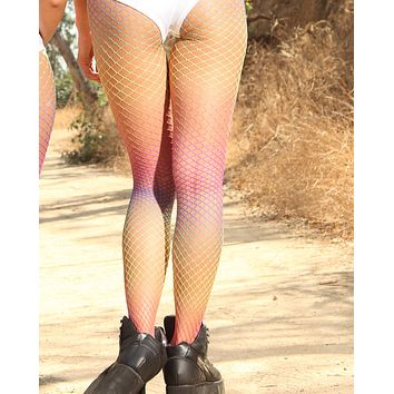 Rainbow Cascading Colors Fishnet Pantyhose