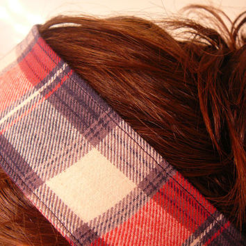 Red Plaid Headband - Preppy Headband - Red Flannel Headband - Plaid Hair Tie - Fabric Hair Band