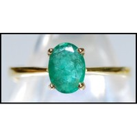 Unique Solitaire Emerald Gemstone 18K Yellow Gold Ring [RS0060]