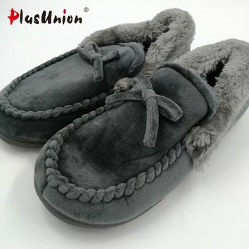 novelty cotton winter Bow tie men slippers soft keep warm solid plush home grey brown indoor shoes with fur cotton-padded shoes