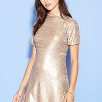 FOREVER 21 Sequin Fit & Flare Dress Gold