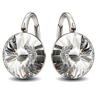 Sterling Silver Made with Swarovski Crystals Clear Round Leverback Earrings, 0.70""