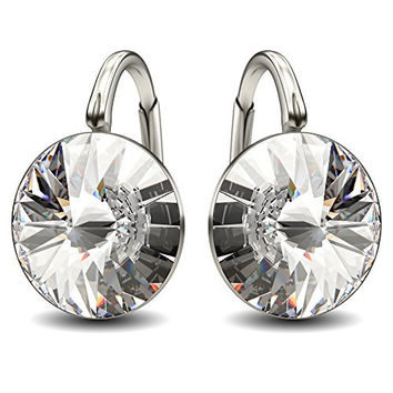 """Sterling Silver Made with Swarovski Crystals Clear Round Leverback Earrings, 0.70"""""""