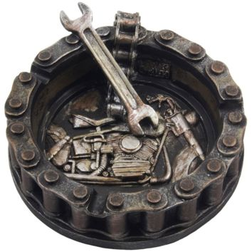 Decorative Motorcycle Chain Ashtray with Wrench and Bike Motif Great for a Biker
