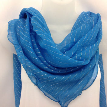 Blue Square Silk shawl, chiffon, Holiday gift, Gift for Bride, Best friend Gift, Oversize sheer scarf, Gift for Grandmother Mom