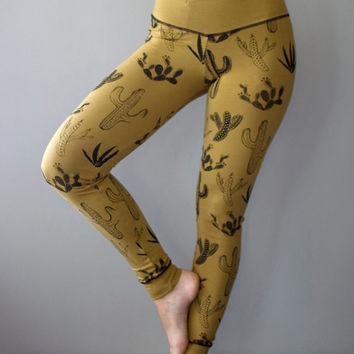 Cactus Legging, Honey and Black cacti hidden pocket legging, high waist legging, yoga legging, hand printed by Simka Sol