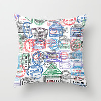 Passport Stamps Throw Pillow by indelible international | Society6