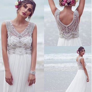 Chiffon Long Boho Beach Wedding Dresses V Neck Pearls Bodice Informal Outdoor Wedding Gowns Reception Dresses Rehearsal Dinner