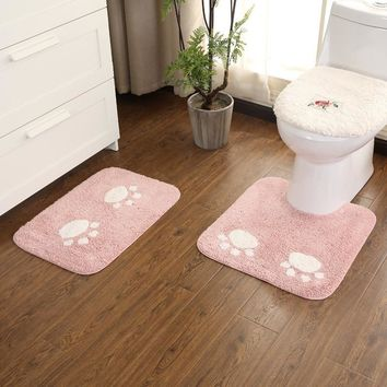Autumn Fall welcome door mat doormat Cat Claw Bathroom Mat Two-piece set DoorwayMat U-type toilet cushion bathroom  washable Hand-made plush toilet soft rug AT_76_7