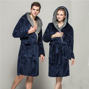 Winter Lovers Adult Stitch Panda Soft Bathrobe With Hood Women/Men Nightgown Home Clothes Warm Bath Robes Dressing Gowns
