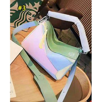 Loewe hot seller of casual patchwork multi-color single-shoulder bags for fashionable ladies with diagonal straddle bag #3