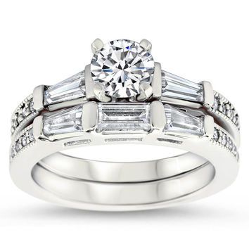 Tapered Baguette Diamond Set Engagement Ring and Wedding Band - Maxine Wedding Set