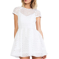 NICHOLAS Broderie Lace Cap Sleeve Dress in White