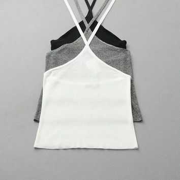 Stylish Hot Beach Bralette Comfortable Summer Sexy Backless Knit Stretch Slim Crop Top Spaghetti Strap Tops Vest [6158982020]