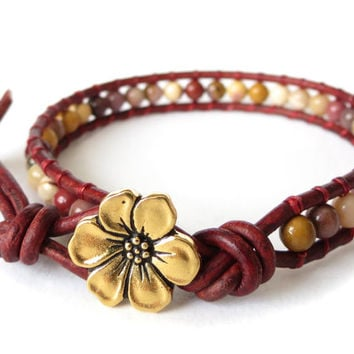 Mother's Day wrap bracelet in crimson red with petite cherry blossom button and mookaite beads, skinny slimline bracelet for her