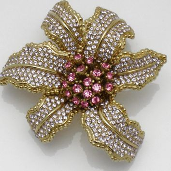 CINER Vintage Orchid Flower Brooch Fuchsia, Amethyst, Gold Plated