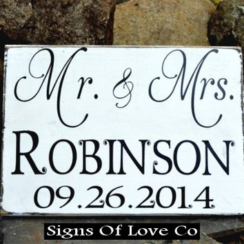 Wedding Wood Sign Personalized Wedding Gift Reception Decor Mr and Mrs Last Name Date Rustic Chic Elegant Vintage Inspired Romantic Plaque