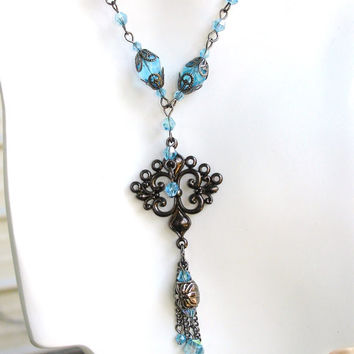Blue necklace aqua necklace gunmetal necklace