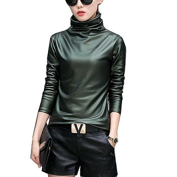 77c7f4eaa08b3 Harajuku women t-shirt sexy long sleeve Turtleneck velvet t shir