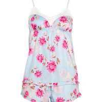 Peter Alexander - Flower Girl Collection - Aqua Rose PJ Shortie Set