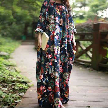 Helisopus Women Floral Print Loose Dresses 2018 Autumn Long Sleeve Boho Dresses Arabic Dubai Ladies Kaftan Long Dresses