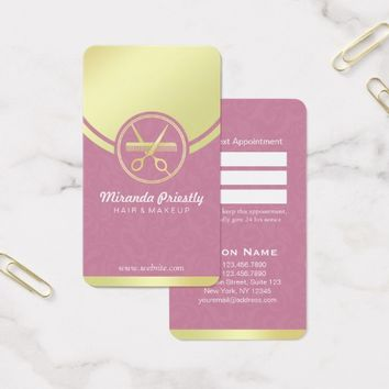 Makeup Salon Pink & Gold Scissor Comb Appointment Business Card