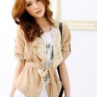 Fashion Stylist Lace Lapel Apricot Ladies Jacket : Wholesaleclothing4u.com