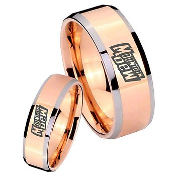 His Hers Rose Gold Beveled Mountain Dew 2 Tone Tungsten Wedding Rings Set
