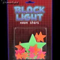 ID12673 - Blacklight Reactive Neon Multicolor Star Pieces - 24 Piece Set