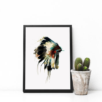 Native Indian American Headdress Art Print Feather Wall Art Wall Hanging Watercolor Headdress Decor Art Gift Nursery Decor AP088
