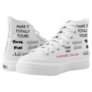 Make it totally yours, upload image add text Shoes Printed Shoes