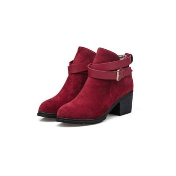 Autumn Winter Women Ankle Boots Medium Square Heels Suede Martin Boots Pointed Toe Buc