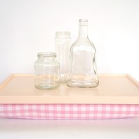 Laptop Lap Desk or Breakfast serving Tray - Light peach with soft pink checked pillow