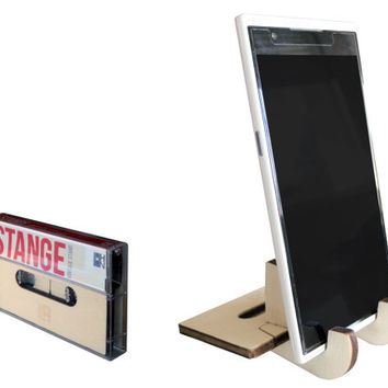Cassette tape,laser cut wood,cell phone stand,tablet holder,iPhone dock,office desk accessories,tech gift,tablet stand,docking station