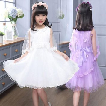 Girls Clothes Fillette Costumes for Children fashion dance lace vest princess Shawl 2017 Girl Dresses Kids 4 6 8 10 12 years old