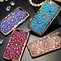 For Apple iPhone 6 6S Luxury Plating TPU Soft Phone Case Women Girl Fashion Bling Diamond Rhinestone Ultra Thin Cases Back Cover