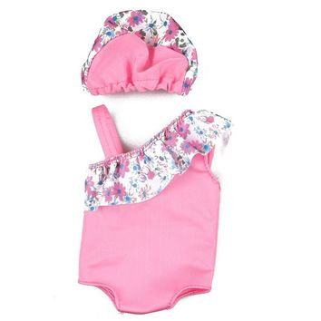 "Swimming Pool beach Summer Doll Clothing Set For 18"" American Girl Doll Bikini + Cap Summer Swimming Suit With Hat Fit for 43cm Baby Doll ClothesSwimming Pool beach KO_14_1"
