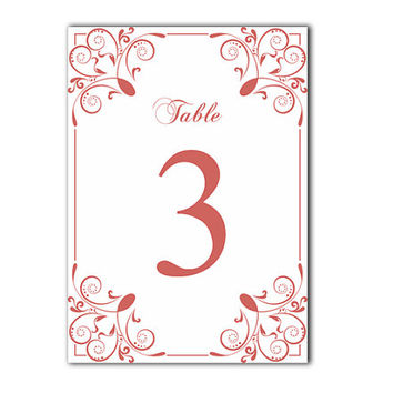 Printable Table Numbers DIY Instant Download Elegant Table Numbers White Red Wedding Table Numbers Printable Table Cards Digital (Set 1-20)