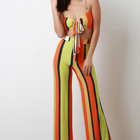 Striped Self Tie Crop Top With Wide Leg Pants Set | UrbanOG